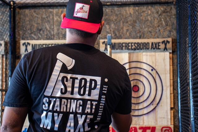 man throwing axe at murfreesboro axe